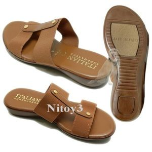 Italian Shoemakers Shoes - Italian Shoemakers Double-strap Slides Brown